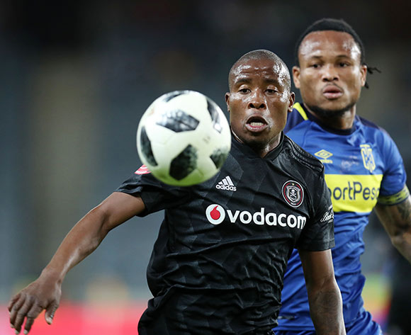 Thabo Matlaba of Orlando Pirates challenged by Edmilson Dove of Cape Town City  during the Absa Premiership 2018/19 match between Orlando Pirates and Cape Town City at the Orlando Stadium, Soweto on 19 September 2018 ©Muzi Ntombela/BackpagePix