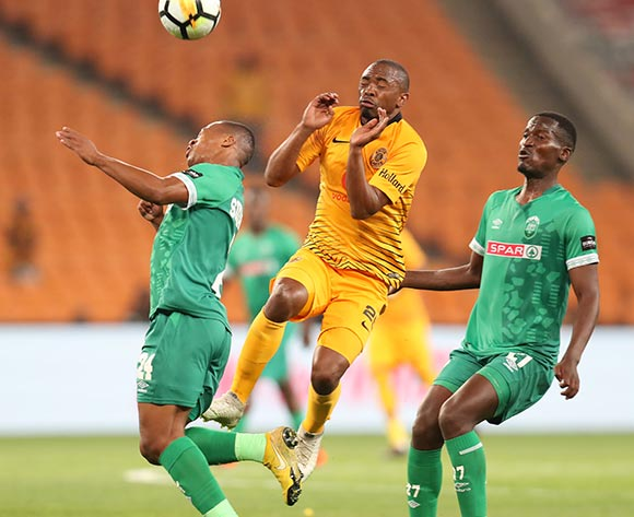 Thembela Sikhakhane of AmaZulu clears ball away from Bernard Parker of Kaizer Chiefs during the Absa Premiership 2018/19 match between Kaizer Chiefs and AmaZulu at the FNB Stadium, Johannesburg on 22 September 2018 ©Muzi Ntombela/BackpagePix
