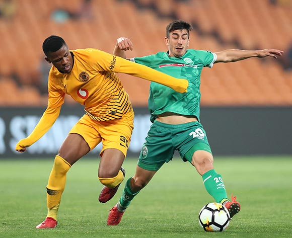 Emiliano Tade of AmaZulu challenged by Siyabonga Ngezana of Kaizer Chiefs during the Absa Premiership 2018/19 match between Kaizer Chiefs and AmaZulu at the FNB Stadium, Johannesburg on 22 September 2018 ©Muzi Ntombela/BackpagePix