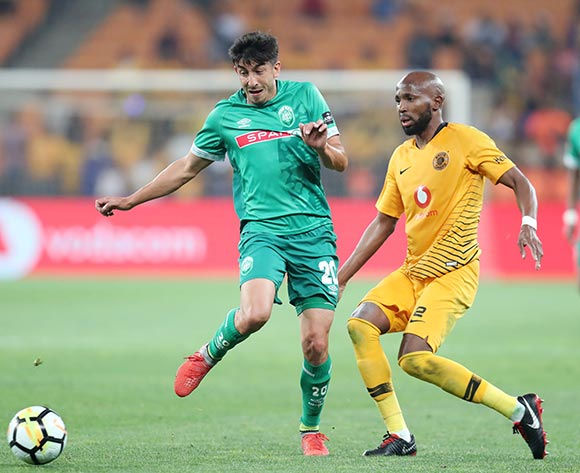 Emiliano Tade of AmaZulu challenged by Ramahlwe Mphahlele of Kaizer Chiefs during the Absa Premiership 2018/19 match between Kaizer Chiefs and AmaZulu at the FNB Stadium, Johannesburg on 22 September 2018 ©Muzi Ntombela/BackpagePix