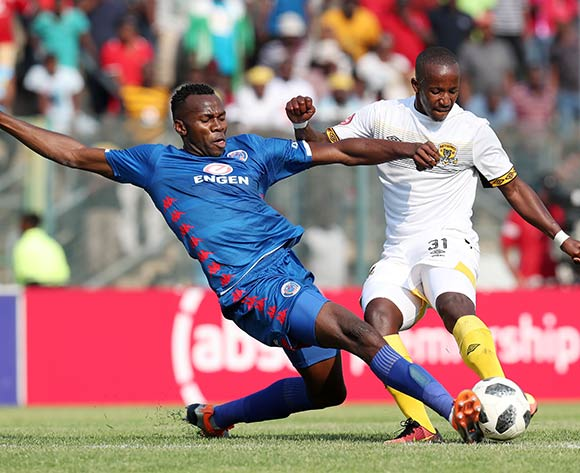 Themba Ndlovu of Black Leopards challenged by Bongani Khumalo of Supersport United during the Absa Premiership 2018/19 match between Supersport United and Black Leopards at the Lucas Moripe Stadium, Atteridgeville on 23 September 2018 ©Muzi Ntombela/BackpagePix