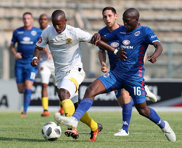 Themba Ndlovu of Black Leopards challenged by Aubrey Modiba of Supersport United during the Absa Premiership 2018/19 match between Supersport United and Black Leopards at the Lucas Moripe Stadium, Atteridgeville on 23 September 2018 ©Muzi Ntombela/BackpagePix