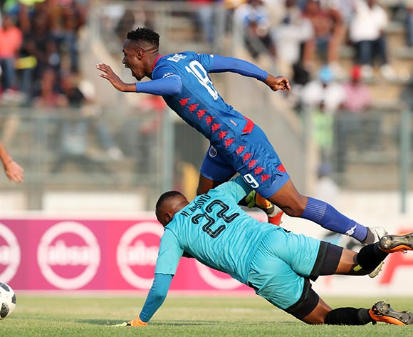 Evans Rusike of Supersport United fouled by King Ndlovu of Black Leopards during the Absa Premiership 2018/19 match between Supersport United and Black Leopards at the Lucas Moripe Stadium, Atteridgeville on 23 September 2018 ©Muzi Ntombela/BackpagePix