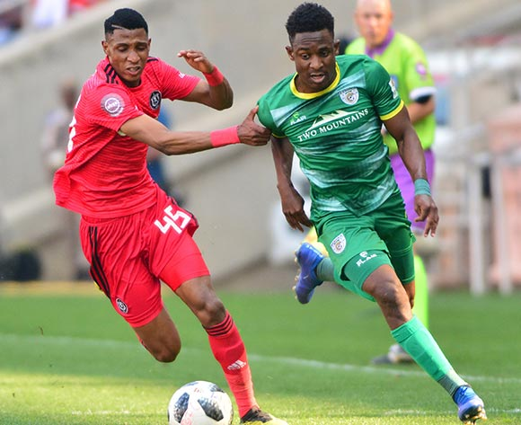 Talent Chawapiwa of Baroka FC and Vincent Pule of Orlando Pirates during the Absa Premiership 2018/19 game between Baroka FC and Orlando Pirates at Peter Mokaba Stadium in Polokwane the on 22 September 2018 © Kabelo Leputu/BackpagePix