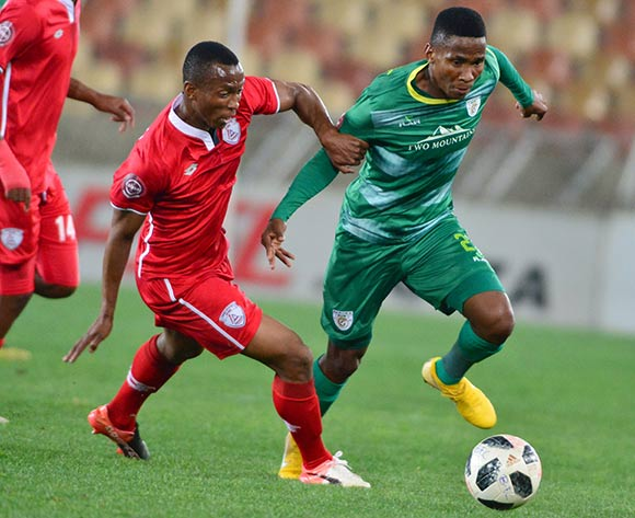 Mpho Kgaswane of Baroka FC and Sifiso Mbhele of Free State Stars during the Absa Premiership 2018/19 game between Baroka FC and Free State Stars at Peter Mokaba Stadium in Polokwane the on 26 September 2018 © Kabelo Leputu/BackpagePix