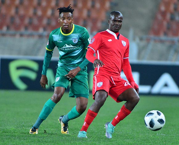 Sthembiso Dlamini of Free State Stars and Matome Mabeba of Baroka FC during the Absa Premiership 2018/19 game between Baroka FC and Free State Stars at Peter Mokaba Stadium in Polokwane the on 26 September 2018 © Kabelo Leputu/BackpagePix