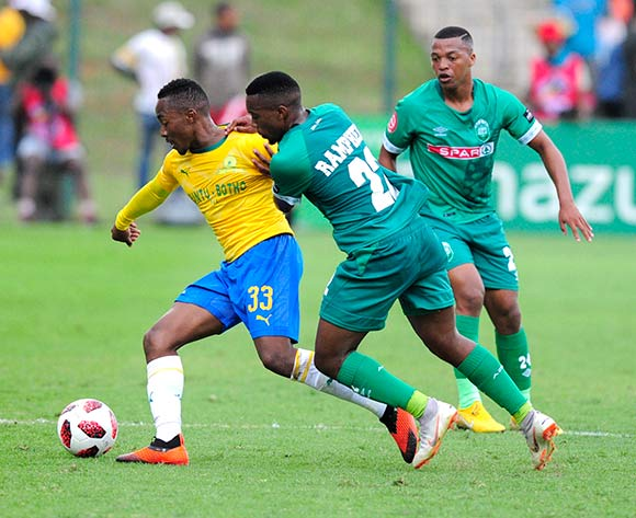 Augustine Ramphela of AmaZulu FC wants to get past Lebohang Maboe of Mamelodi Sundowns FC to get past the ball during the Absa Premiership 2018/19 game between AmaZulu and Mamelodi Sundowns at King  Zwelentini Stadium on 15 September 2018 © Gerhard Duraan/BackpagePix