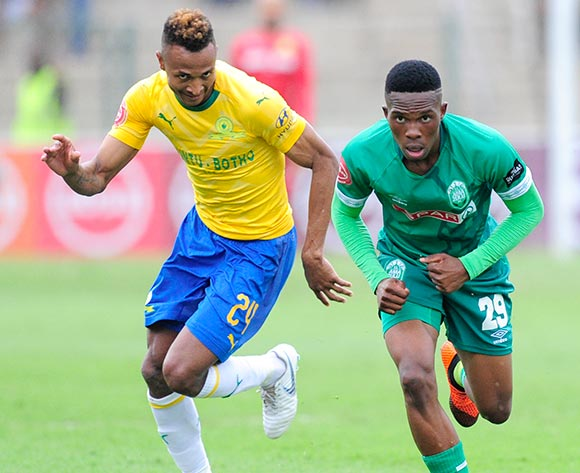 Toni Silva of Mamelodi Sundowns FC and Sibusiso Mabilis of AmaZulu FC  both chase after the ball during the Absa Premiership 2018/19 game between AmaZulu and Mamelodi Sundowns at King  Zwelentini Stadium on 15 September 2018 © Gerhard Duraan/BackpagePix