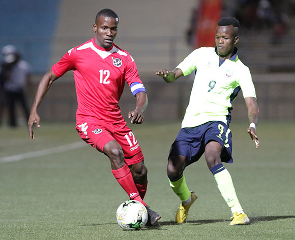 Ronald Ketjijere of Namibia and Reginaldo Fait of Mozambique in action during their Afcon qualifying match in Windhoek on 16 October. Namibia won the match 1-0. Photo: Helge Schutz