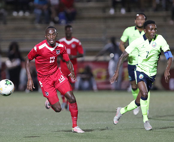 Namibia striker Peter Shalulile on the attack against Mozambique during their Afcon qualifying match in Windhoek on 16 October. Namibia won the match 1-0. Photo: Helge Schutz