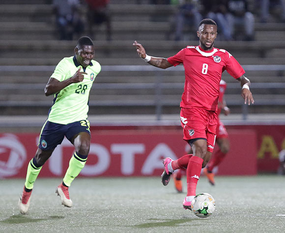 Namibia midfielder Willy Stephanus on the attack against Mozambique during their Afcon qualifying match in Windhoek on 16 October. Namibia won the match 1-0. Photo: Helge Schutz