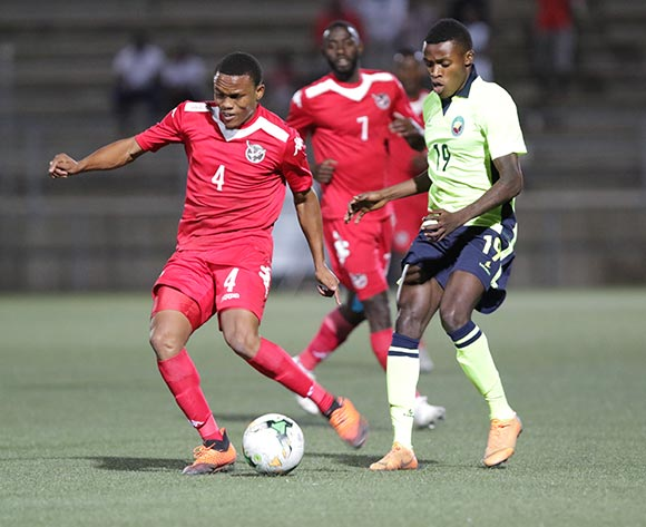 Namibia wing back Riaan Hanamub and Witinesse Quembo of Mozambique in action during their Afcon qualifying match in Windhoek on 16 October 2018. Namibia won the match 1-0. Photo: Helge Schutz