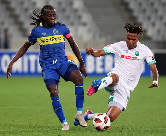 Allan Kateregga of Cape Town City challenged by Nhlanhla Vilakazi of Amazulu FC during the Absa Premiership 2018/19 football match between Cape Town City FC and AmaZulu at Cape Town Stadium, Cape Town on 27 October 2018 ©Chris Ricco/BackpagePix