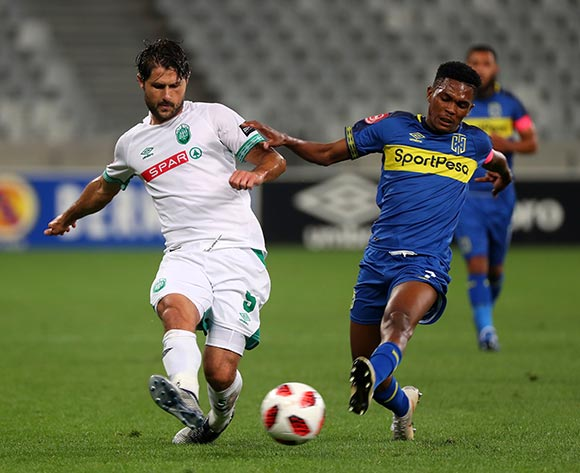 Marc van Heerden of Amazulu FC battles for the ball with Gift Links of Cape Town City during the Absa Premiership 2018/19 football match between Cape Town City FC and AmaZulu at Cape Town Stadium, Cape Town on 27 October 2018 ©Chris Ricco/BackpagePix
