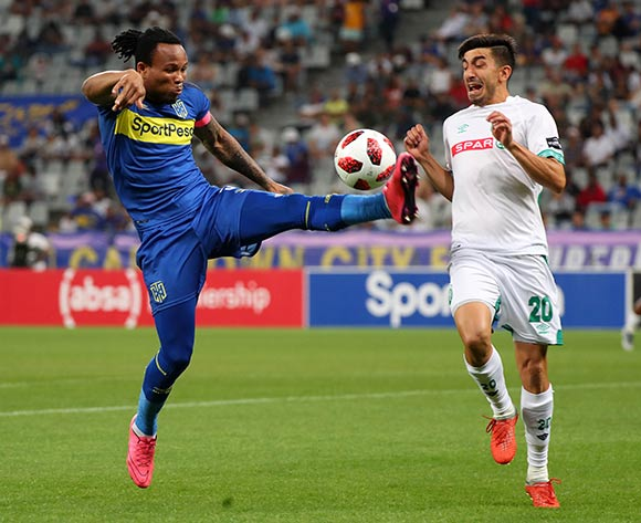 Edmilson Dove of Cape Town City battles for the ball with Emiliano Tade of Amazulu FC during the Absa Premiership 2018/19 football match between Cape Town City FC and AmaZulu at Cape Town Stadium, Cape Town on 27 October 2018 ©Chris Ricco/BackpagePix