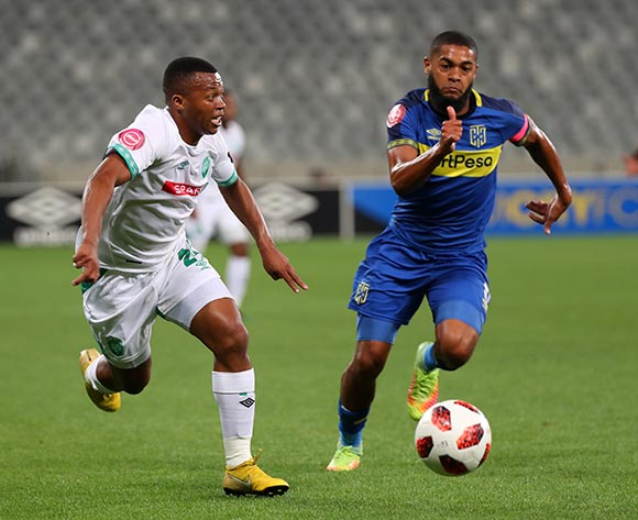 Thembela Sikhakhane of Amazulu FC evades challenge from Ebrahim Seedat of Cape Town City during the Absa Premiership 2018/19 football match between Cape Town City FC and AmaZulu at Cape Town Stadium, Cape Town on 27 October 2018 ©Chris Ricco/BackpagePix