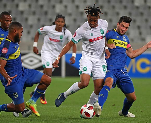 Nhlanhla Vilakazi of Amazulu FC tackled by Ebrahim Seedat of Cape Town City (l) and Roland Putsche of Cape Town City (r) during the Absa Premiership 2018/19 football match between Cape Town City FC and AmaZulu at Cape Town Stadium, Cape Town on 27 October 2018 ©Chris Ricco/BackpagePix
