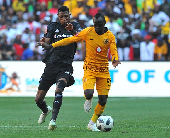 Vincent Pule of Orlando Pirates is challenges Godfrey Malusimbi of Kaizer Chiefs  during the Absa Premiership match between Orlando Pirates and Kaizer Chiefs on the 27 October 2018 at FNB Stadium, Soweto  / Pic Sydney Mahlangu/BackpagePix