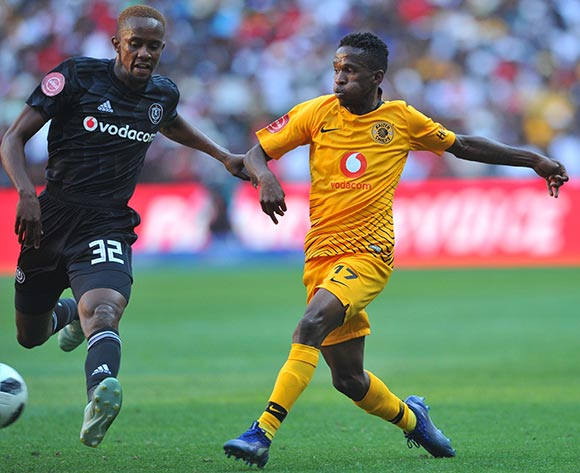 Linda Mntambo of Orlando Pirates challenges Kabelo Mahlasela of Kaizer Chiefs during the Absa Premiership match between Orlando Pirates and Kaizer Chiefs on the 27 October 2018 at FNB Stadium, Soweto  / Pic Sydney Mahlangu/BackpagePix