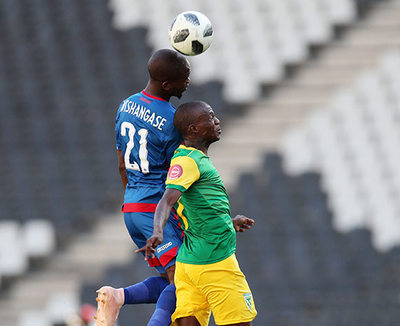 Nduduzo Sibiya of Golden Arrows challenged by Phumlani Ntshangase of Supersport United during the Absa Premiership 2018/19 match between Supersport United and Golden Arrows at the Mbombela Stadium, Nelspruita on 28 October 2018 ©Muzi Ntombela/BackpagePix