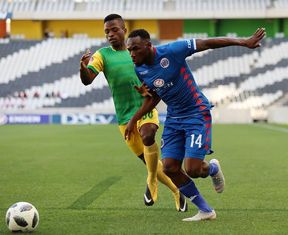 Onismor Bhasera of Supersport United challenged by Kwanele Hlongwane of Golden Arrows during the Absa Premiership 2018/19 match between Supersport United and Golden Arrows at the Mbombela Stadium, Nelspruita on 28 October 2018 ©Muzi Ntombela/BackpagePix