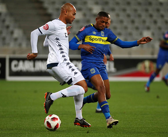 Robyn Johannes of Bidvest Wits evades challenge from Craig Martin of Cape Town City during the Absa Premiership 2018/19 football match between Cape Town City FC and Bidvest Wits at Cape Town Stadium, Cape Town on 2 October 2018 ©Chris Ricco/BackpagePix