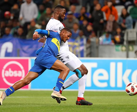 Craig Martin of Cape Town City tackled by Buhle Mkhwanazi of Bidvest Wits during the Absa Premiership 2018/19 football match between Cape Town City FC and Bidvest Wits at Cape Town Stadium, Cape Town on 2 October 2018 ©Chris Ricco/BackpagePix