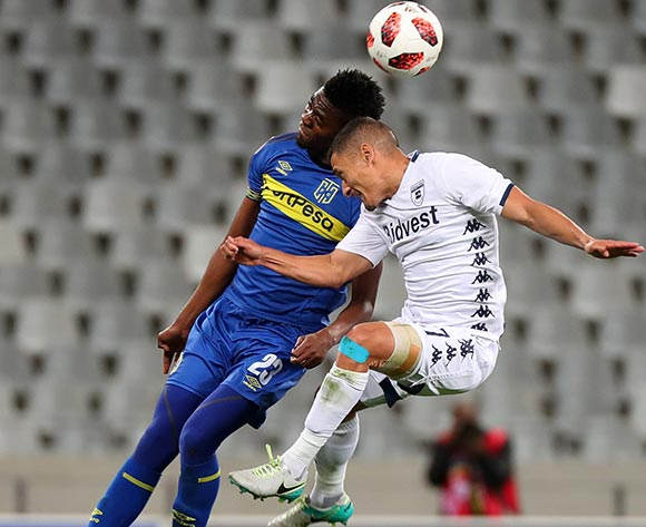 Cole Alexander of Bidvest Wits battles for the ball with Mpho Matsi of Cape Town City during the Absa Premiership 2018/19 football match between Cape Town City FC and Bidvest Wits at Cape Town Stadium, Cape Town on 2 October 2018 ©Chris Ricco/BackpagePix
