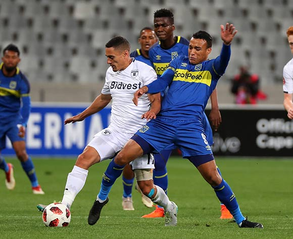 Cole Alexander of Bidvest Wits tackled by Matthew Rusike of Cape Town City during the Absa Premiership 2018/19 football match between Cape Town City FC and Bidvest Wits at Cape Town Stadium, Cape Town on 2 October 2018 ©Chris Ricco/BackpagePix