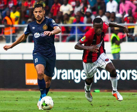 Mohamed Youcef Belaili of Esperance goes past Jose Ganga of Club Desportivo 1 de Agosto during the 2018 CAF Champions League game between Club Desportivo 1 de Agosto and Esperance at 11 November Stadium in Angola on 2 October 2018 © Osmar Edgar/BackpagePix