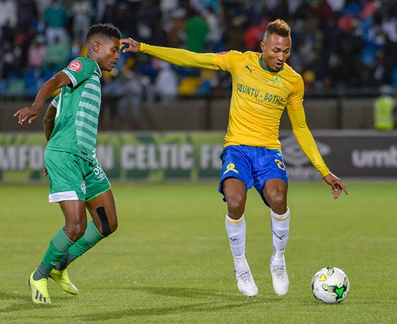 Toni Silva of Mamelodi Sundowns and Menzi Masuku of Bloemfontein Celtic during the Absa Premiership 2018/19 game between Bloemfontein Celtic and Mamelodi Sundowns at Dr Molemela Stadium in Bloemfontein on 03 October 2018 © Frikkie Kapp/BackpagePix