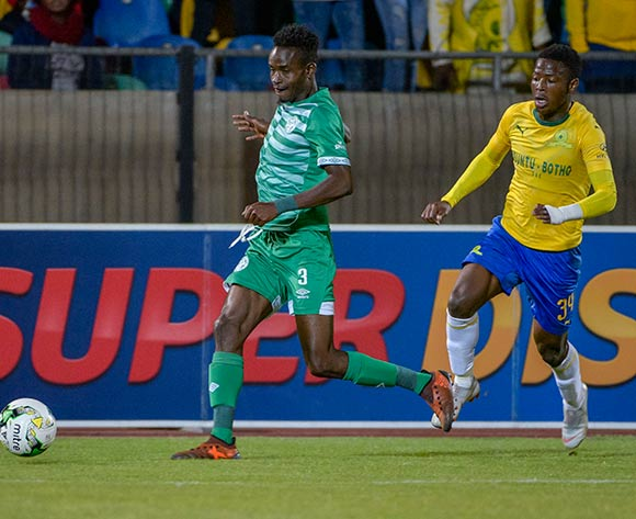 Ronald Pfumbidzai of Bloemfontein Celtic and Phakamani Mahlambi of Mamelodi Sundowns during the Absa Premiership 2018/19 game between Bloemfontein Celtic and Mamelodi Sundowns at Dr Molemela Stadium in Bloemfontein on 03 October 2018 © Frikkie Kapp/BackpagePix
