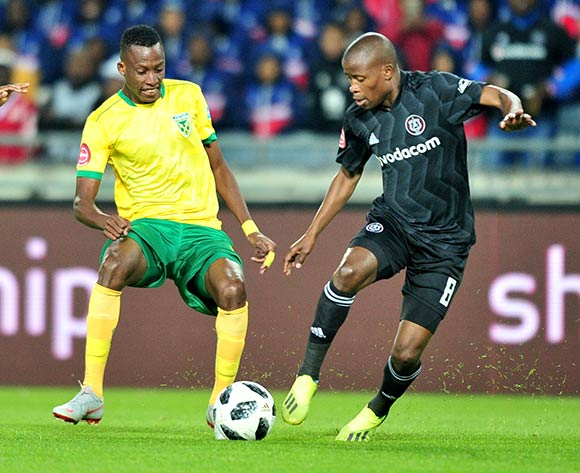 Divine Lunga of Golden Arrows challenged Thabo Matlaba of Orlando Pirates during the Absa Premiership 2018/19 match between Orlando Pirates and Golden Arrows at Orlando Stadium, Johannesburg on 03 October 2018 ©Samuel Shivambu/BackpagePix