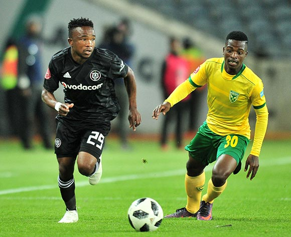 Paseka Mako of Orlando Pirates challenged by Siboniso Conco of Golden Arrows during the Absa Premiership 2018/19 match between Orlando Pirates and Golden Arrows at Orlando Stadium, Johannesburg on 03 October 2018 ©Samuel Shivambu/BackpagePix