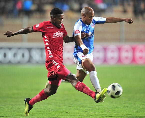 Kurt Lentjies of Chippa United challenged by Phoka Mofokeng of Highlands Park during the Absa Premiership 2018/19 match between Highlands Park and Chippa United at Makhulong Stadium, Johannesburg on 06 October 2018 ©Samuel Shivambu/BackpagePix