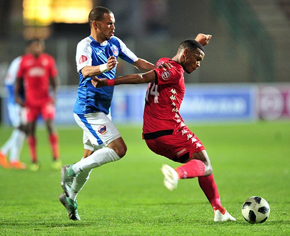 Mothobi Mvala of Highlands Park challenged by Ruzaigh Gamildien of Chippa United during the Absa Premiership 2018/19 match between Highlands Park and Chippa United at Makhulong Stadium, Johannesburg on 06 October 2018 ©Samuel Shivambu/BackpagePix