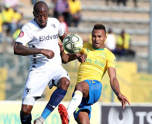 Toni Silva of Mamelodi Sundowns challenged by Sifiso Hlanti of Bidvest Wits during the Absa Premiership 2018/19 match between Mamelodi Sundowns and Bidvest Wits at Lucas Moripe Stadium, Atteridgeville on 07 October 2018  ©Muzi Ntombela/BackpagePix