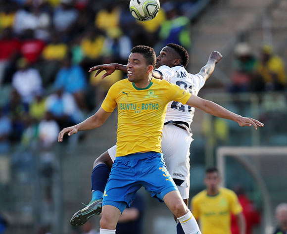 Ricardo Nascimento of Mamelodi Sundowns challenged by Mxolisi Macuphu of Bidvest Wits during the Absa Premiership 2018/19 match between Mamelodi Sundowns and Bidvest Wits at Lucas Moripe Stadium, Atteridgeville on 07 October 2018  ©Muzi Ntombela/BackpagePix