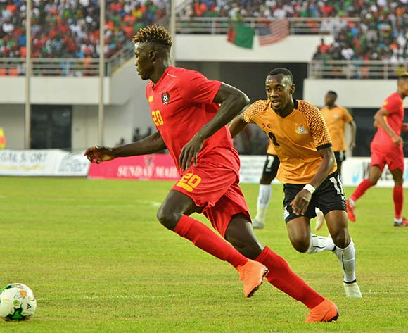 Maconi Mane of Guinea  Bissau challenged by Justin Shonga of Zambia during the 2019 Afcon qualifying football match between Zambia and Guinea Bissau at National  Heroes Stadium, Lusaka, Zambia on 10 October ©/BackpagePix