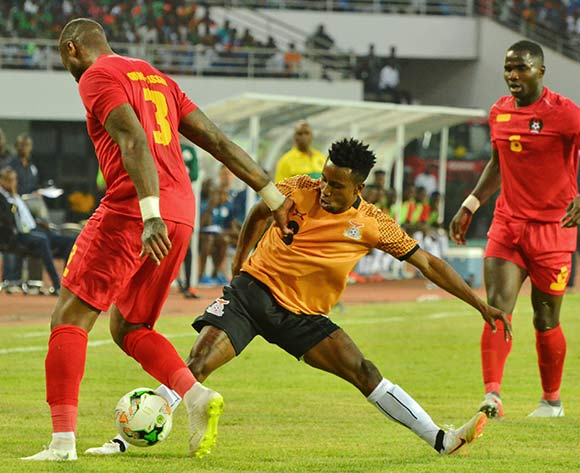 Lubambo Musonda of Zambia tackles Edigenson Gomes of Guinea Bissau during the 2019 Afcon qualifying football match between Zambia and Guinea Bissau at National  Heroes Stadium, Lusaka, Zambia on 10 October ©/BackpagePix