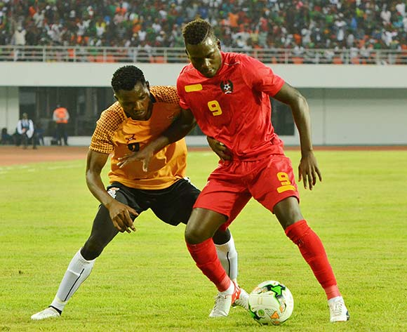 Solomon Sakala of Zambia tackles Carlos Eiubaloof of Guinea Bissau during the 2019 Afcon qualifying football match between Zambia and Guinea Bissau at National  Heroes Stadium, Lusaka, Zambia on 10 October ©/BackpagePix