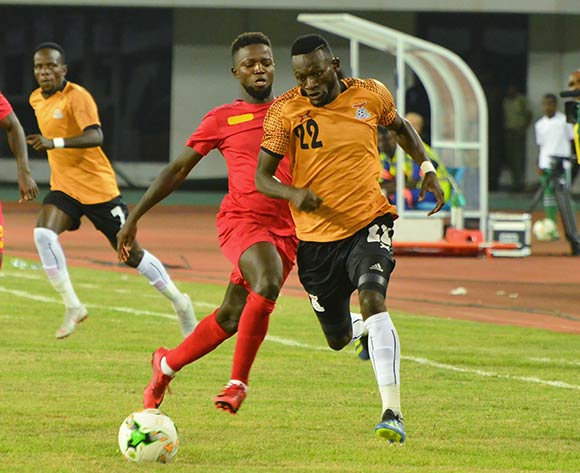 Augustine Mulenga of Zambia challenged by Francisco de  Silva Junior of Guinea Bissau during the 2019 Afcon qualifying football match between Zambia and Guinea Bissau at National  Heroes Stadium, Lusaka, Zambia on 10 October ©/BackpagePix