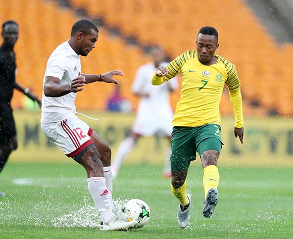 Lebohang Maboe of South Africa challenges Perry Monnaie of Seychelles during the 2019 African Cup of Nations match between South Africa and Seychelles at the FNB Stadium, Johannesburg on 13 October 2018 ©Muzi Ntombela/BackpagePix