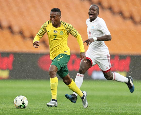 Lebohang Maboe of South Africa challenged by Nelson Laurence of Seychelles during the 2019 African Cup of Nations match between South Africa and Seychelles at the FNB Stadium, Johannesburg on 13 October 2018 ©Muzi Ntombela/BackpagePix