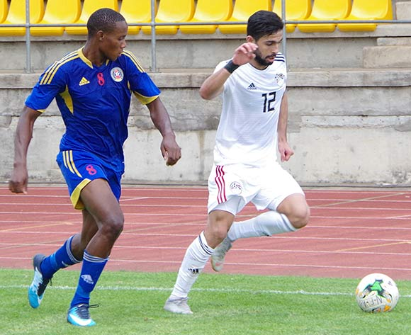 Egypt Ayman Elsayed runs away with the ball from Eswatini during the TOTAL 2019 AFCON Qualifier at Mavuso Sports Centre, Manzini, Eswatini on October 16, 2018. Egypt won 2-0