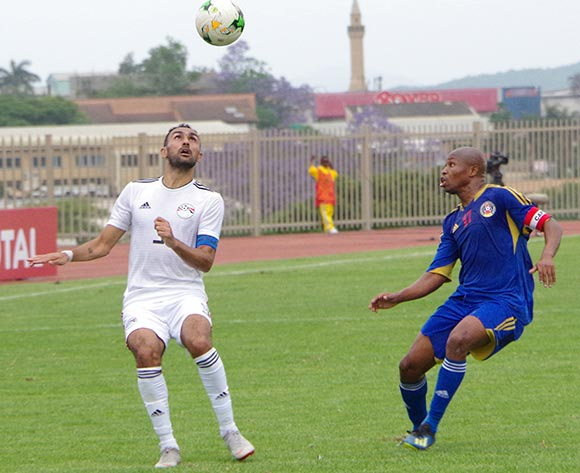 Egypt Ahmed Eissa attepmts to win teh ball from Eswatini Tony Tsabedze on October 16, 2018 during the TOTAL 2019 AFCON Qualifier at Mavuso Sports Centre, Manzini, Eswatini. Egypt won 2-0