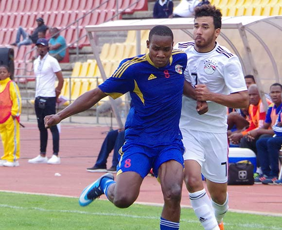 Egypt Mahmoud Hassan challenges Eswatini Siboniso Ngwenya on October 16, 2018 during the TOTAL 2019 AFCON Qualifier at Mavuso Sports Centre, Manzini, Eswatini. Egypt won 2-0.