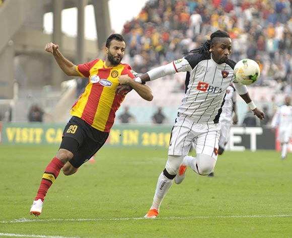 Beadrik Unge of Club Desportivo 1 de Agosto and Taha Yassine Khenissi of Esperance during the 2018 CAF Champions League Semifinal 2nd Leg game between Esperance and Club Desportivo 1 de Agosto at Stade Olympique 07 Novemre Rades - Tunis - Tunisia on 23 October 2018 © Osmar Edgar/BackpagePix