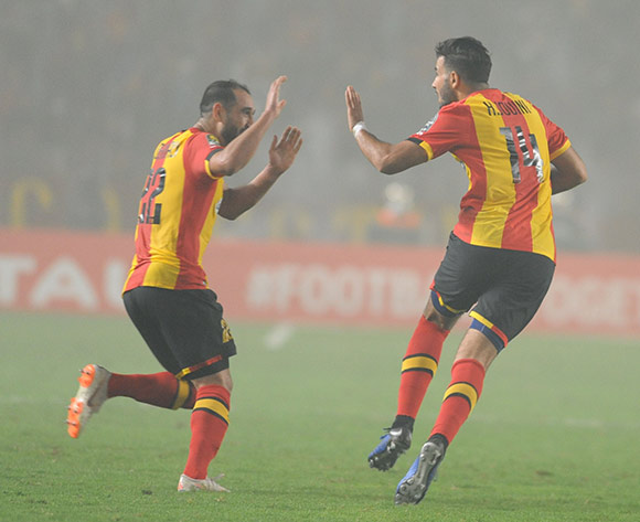 Haythem Jouini and Sameh Derbali of Esperance celebrating a goal during the 2018 CAF Champions League Semifinal 2nd Leg game between Esperance and Club Desportivo 1 de Agosto at Stade Olympique 07 Novemre Rades - Tunis - Tunisia on 23 October 2018 © Osmar Edgar/BackpagePix