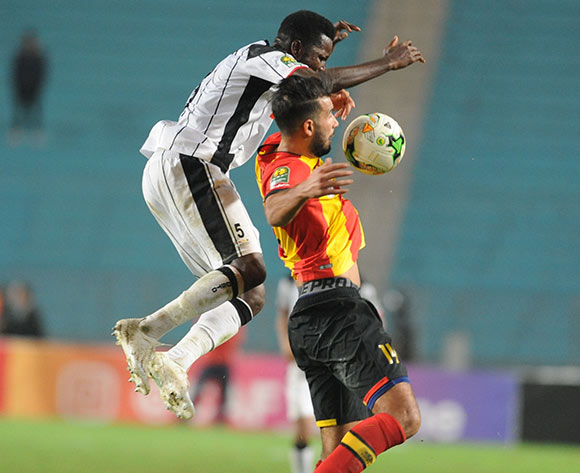 Haythem Jouini of Esperance challenged by Masunguna Afonso of Club Desportivo 1 de Agosto during the 2018 CAF Champions League Semifinal 2nd Leg game between Esperance and Club Desportivo 1 de Agosto at Stade Olympique 07 Novemre Rades - Tunis - Tunisia on 23 October 2018 © Osmar Edgar/BackpagePix